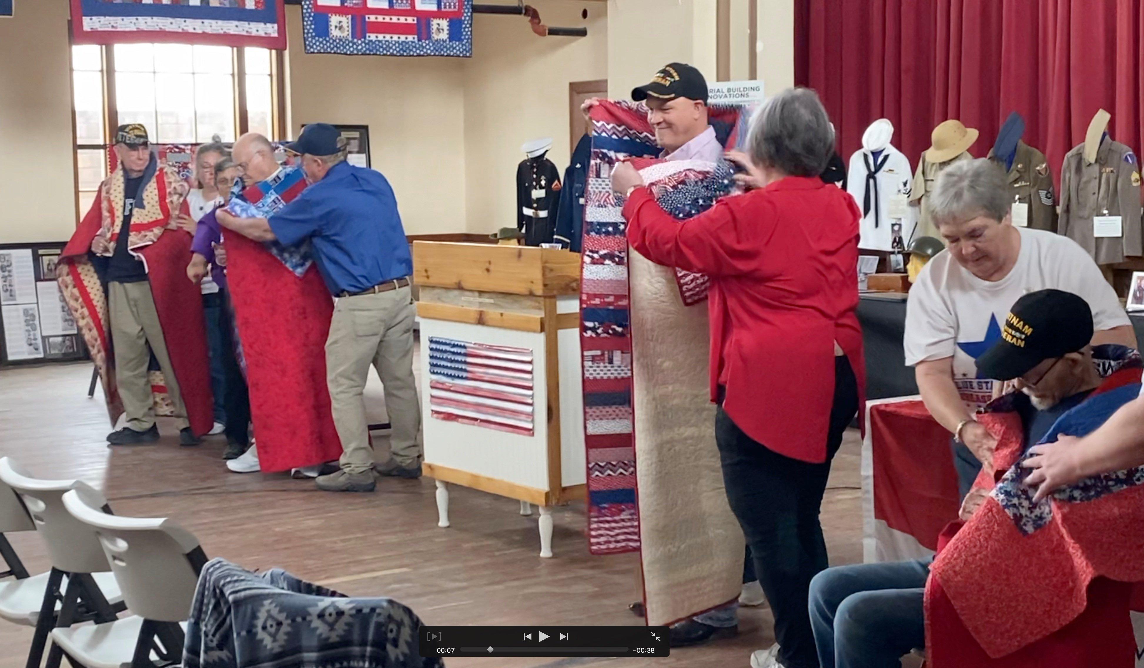 Veterans receive Quilts of Valor at Veterans Memorial Building