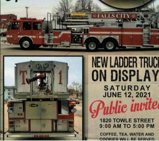 Falls City plans June 12 open house, displays new ladder truck