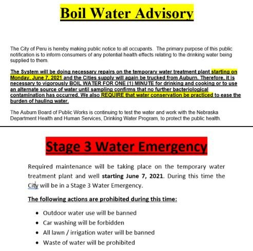 Boil advisory ahead for Peru