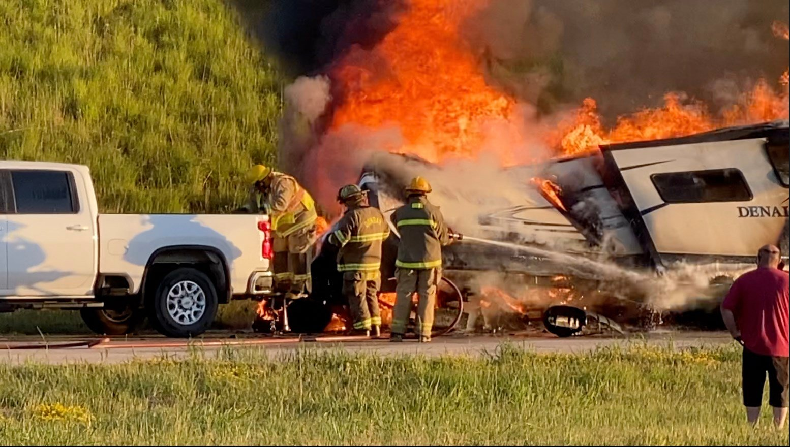Dunbar firefighters improvise to save truck from burning camper